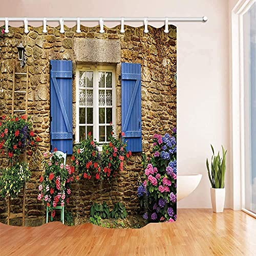 3D Home Garden Shower Curtain Stone Wall Blue Wooden Window and Flowers Plants Scenery Bathroom Decoration Curtains with Hook 71X 71 inch Green Brown