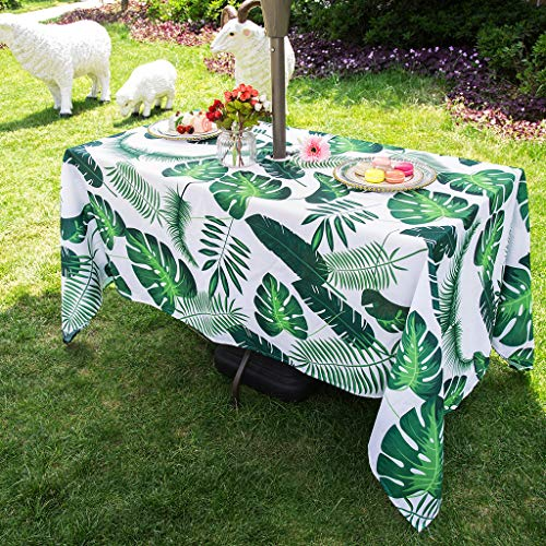 Eternal Beauty 152x305cm Palm Leaf Indoor Outdoor Waterproof Tablecloth with Umbrella Hole and Zipper for Patio Garden Party and BBQ(60x120 Inch)