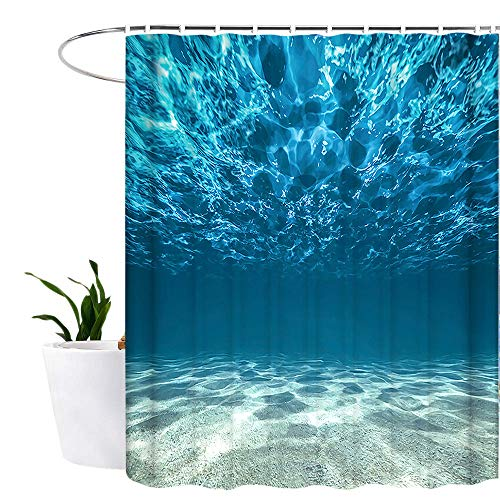 Lonior Ocean Shower Curtain Waterproof Mould Proof Resistant Bathroom Curtain Washable Bath Curtain Polyester Fabric 3D Shower Curtains for Bathroom with 12 Hooks 180x180cm Blue