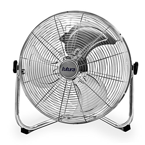 Futura High Velocity Floor Fan Large 20 Inch 50cm Frame 110W Max Power Chrome Fans cooling, Adjustable Heavy Duty 3 Speed Floor Standing Fan Portable Ideal for the Gym Hydroponic, Durable Tubular Steel Construction, 1.4m Cable Length, Rubber Feet, 18 inch Blades
