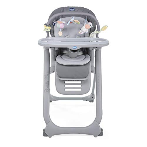 Chicco Polly Magic Relax Baby High Chair from Birth to 3 Years (15 kg), Adjustable Highchair with 4 Wheels, Fully Reclining, Compact Closure, Play Bar and Reducer Cushion - Graphite