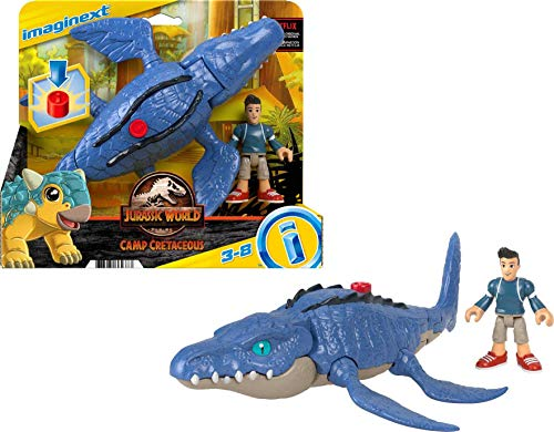 Fisher-Price Imaginext Jurassic World Camp Cretaceous Mosasaurus Dinosaur and Kenji Figure Set for Preschool Kids Ages 3-8 Years