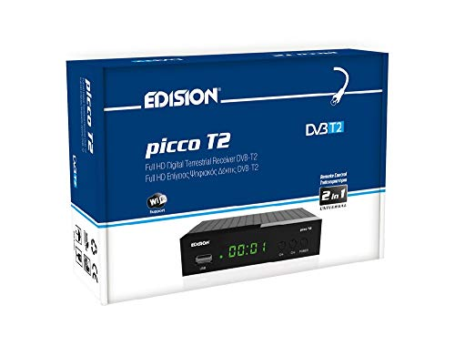 EDISION PICCO T2, TNT Récepteur DVB-T/T2, Full HD, WiFi support, 2in1 IR remote control, LED display, Noir
