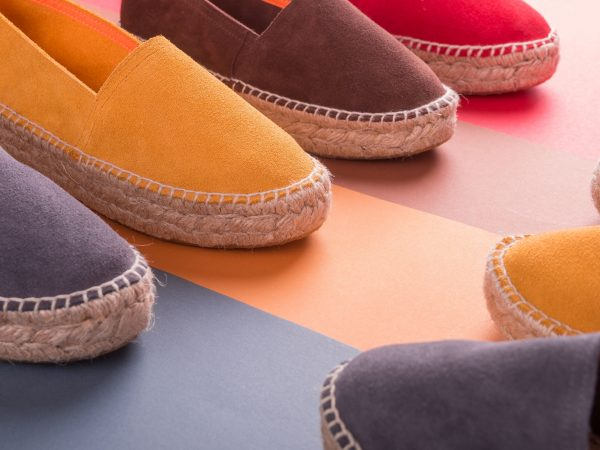 Loafers on multicolor background. Close up. Espadrilles