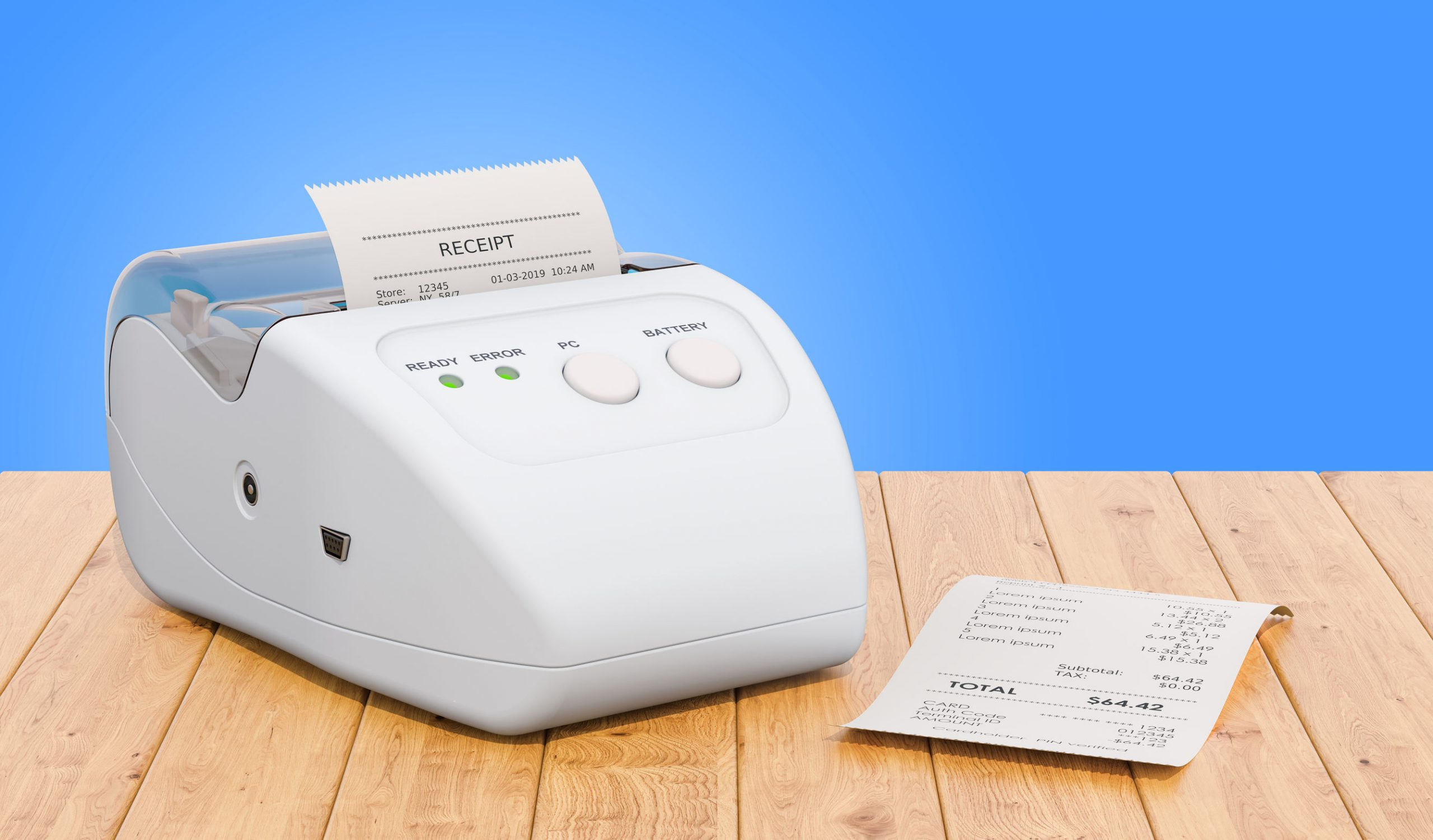 Receipt printer for POS on the wooden table, 3D rendering