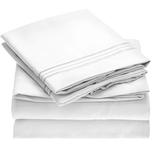Mellanni Queen Sheet Set - Hotel Luxury 1800 Bedding Sheets & Pillowcases - Extra Soft Cooling Bed Sheets - Deep Pocket up to 16 inch Mattress - Wrinkle, Fade, Stain Resistant - 4 Piece (Queen, White)