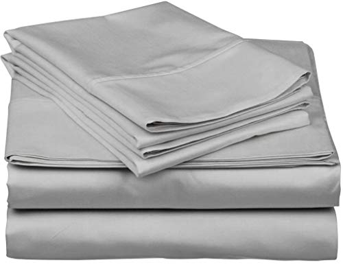 True Luxury 1000-Thread-Count 100% Egyptian Cotton Bed Sheets, 4-Pc California King Silver Sheet Set, Single Ply Long-Staple Yarns, Sateen Weave, Fits Mattress Upto 18'' Deep Pocket