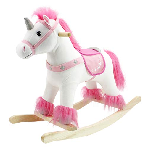 Animal Adventure   Real Wood Ride-On Plush Rocker   White and Pink Unicorn   Perfect for Ages 3+