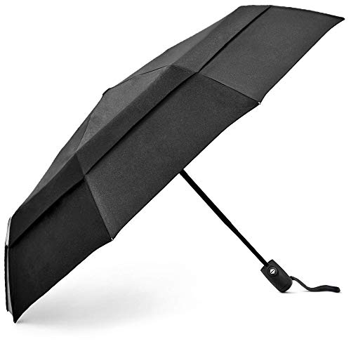 EEZ-Y Windproof Travel Umbrellas for Rain - Lightweight, Strong, Compact with & Easy Auto Open/Close Button for Single Hand Use - Double Vented Canopy for Men & Women - Black