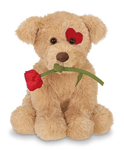 Bearington Conner Cuddlesmore Plush Stuffed Animal Puppy Dog with Rose, 11 inches