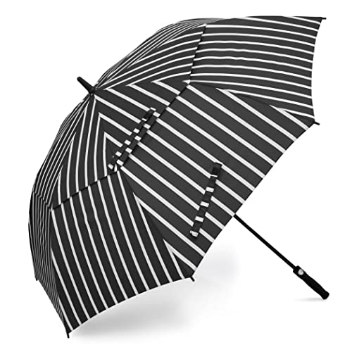 BAGAIL Golf Umbrella 68/62/58 Inch Large Oversize Double Canopy Vented Automatic Open Stick Umbrellas for Men and Women(BlackStripes,68 inch)