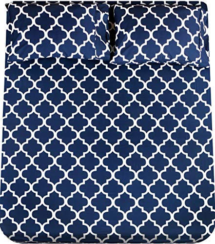Utopia Bedding Printed Queen Sheet Set - 1 Fitted Sheet, 1 Flat Sheet and 2 Pillowcases - Soft Brushed Microfiber Fabric - Shrinkage and Fade Resistant (Queen, Navy Quatrefoil with White Pattern)